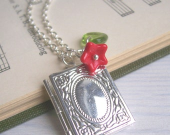 The Librarian locket necklace in silver - book locket with red flower charm - SALE