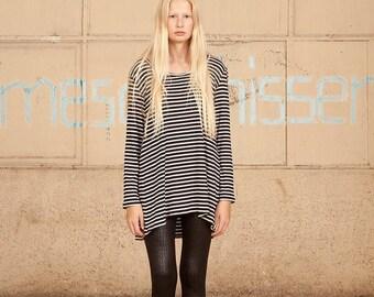 White & Black Stripes Shirt, Women Shirt,Long Sleeves Stripes Shirt, .Long Sleeve T Shirt,Gray tshirt, Long Sleeves t