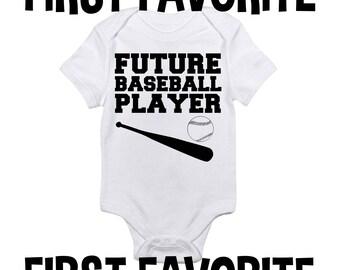 Baseball futur joueur bébé grenouillère Body chemise douche cadeau drôle mignon grossesse Unique annonce de naissance révèlent nourrisson nouveau-né - 24M
