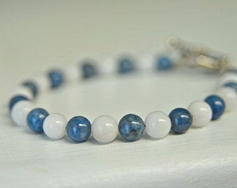 Snow Quartz And Blue Lapis Bracelet with Natural Gemstones - Handmade in Maine
