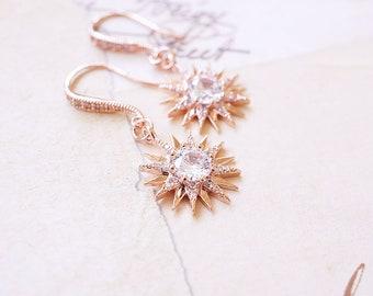 Earrings, Rose Gold Earrings, CZ Earrings, Starburst Earrings, Star Earrings, Crystal Earrings, Dangle Earrings, Drop Earrings, Gift for Her