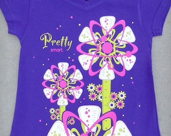 Pretty Smart - Smart Cute and Funny Girls Science Purple A-frame V-neck Tee // Nerdy Cool // Smart Girl // Girl Power // Positive Tee