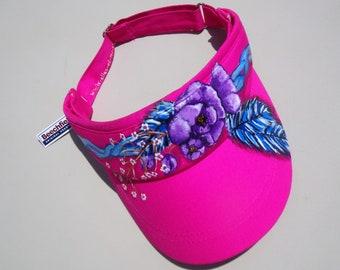 visière femme, peint main, coton rose, taille ajustable, visière sport, mode plage, casquette femme , mode femme, accessoires soleil