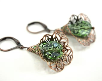 Peridot Copper Dangle Earrings Flower Filigree Leverback Antiqued Victorian Light Green Earrings