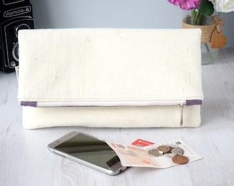 Harris Tweed Fold-over zipped large clutch bag in natural/cream twill tweed |Clutch purse, evening bag | Wedding accessory | Handmade in UK.