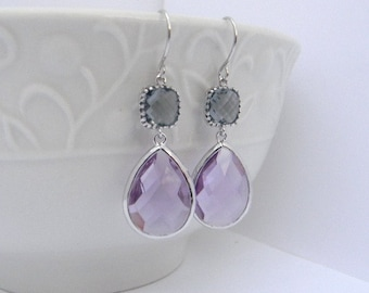 Lilac earrings - Gray Earrings - Purple and Gray Earrings - Bridesmaid Earrings - Dangle Earrings -  Bridesmaid Gift - Gift Idea For Her
