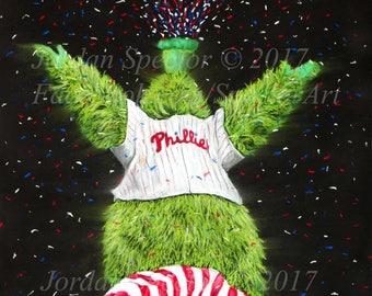 Philadelphia Phillies - Phillie Phanatic - Fightin Phils - Art Print - Phillies Mascot - Man Cave Art - Phillies Wall Art - dorm decor