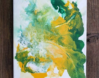 Abstract Original 8x10 Acrylic Painting on Canvas Green and Yellow Leaf