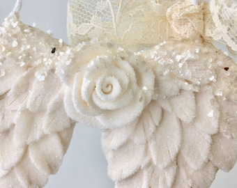 White Angel Wings Christmas Ornament with clear glass glitter. shabby chic glitter lace white with glitter vintage.