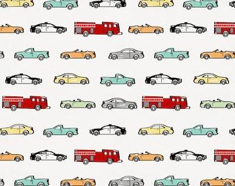 Modern Cars Organic Fabric - By The Yard - Boy / Modern