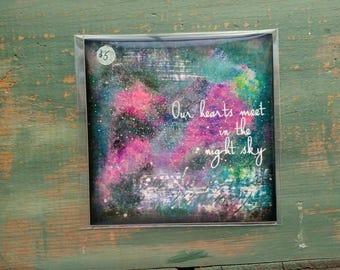 """SALE! Galaxy Print, 5""""x5"""" Star Print, Inspirational Art Print, Mixed Media Print, Nebula Print Galaxy Art, Purple, Black, Green, Hearts Meet"""