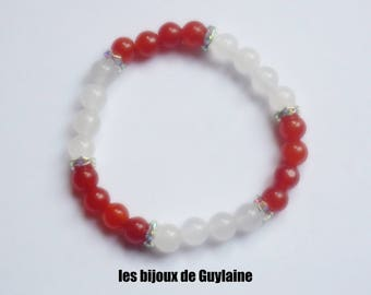 Chunky agate and jade stone Stretch Bracelet, Crystal