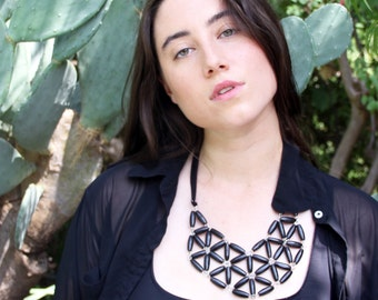 black wood geometric mosaic necklace