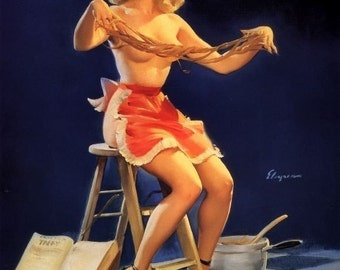 ELVGREN - THIS STICKS  - Pinup - 40s - Pin-Up Candy Maker - Perfect for your Kitchen! Legs candy and apron Nude