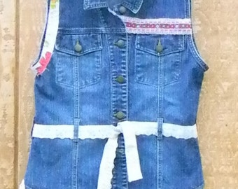 Gypsy Upcycled Embellished jean Vest Size Medium