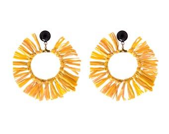 Gelbe Ohrringe, trendige leichte Creolen, Aussage Ohrringe, Kreis Quaste natürliche Schmuck Hippie Sonne Ohrringe Naama brosh