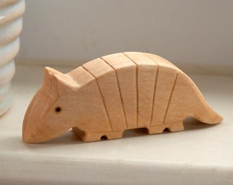Carved Wooden ARMADILLO, Handmade Toy Animal, Waldorf Inspired