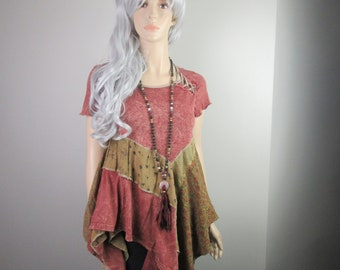 RESERVED for GP Boho Lagenlook Tunic Flowing Distressed Dyed Dusty Cranberry Gold & Blue Eco-Chic Recycled Fashion Size S - M
