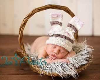 Baby hat newborn photo photography prop bunny ears hand knit rabbit beanie with bows cream pink brown stripes girl pure australian merino