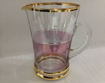 Vintage Mid-Century Pink Glass Pitcher w/ Gold Accents, Retro Glass