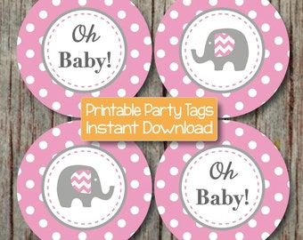 Printable Cupcake Toppers diy Elephant Gum Pink Grey Baby Shower Party Decorations Oh Baby! Elephant Tags Stickers INSTANT DOWNLOAD 173