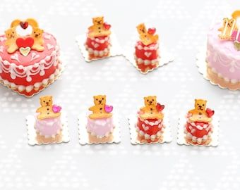 """Miniature Pastry """"Teddies"""" in Red or Pink - Cute Individual Pastry for Valentine's - 12th scale miniature food"""