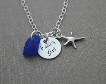 Sterling silver beach girl necklace, genuine sea glass cobalt blue and sterling silver starfish charm, hand stamped disc, Beach Jewelry