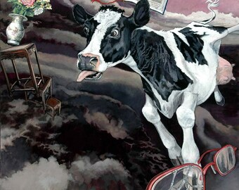 Stupid Cow, She's Lost It - Ltd Ed. Giclée Art Print on Canvas by Jane Nicol