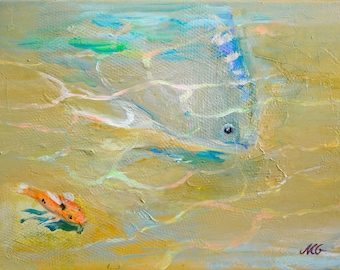 """Me & You - small original acrylic painting, ocher, orange, blue and turquoise painting, sand and fishes small painting 30x40 cm app. 12x16"""""""
