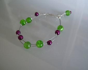Bracelet jewelry refined lime/Apple green / dark plum/pink Fuchsia pr dress of bride/wedding/party/ceremony/cocktail pearls (cheap)