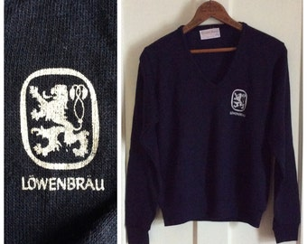 Vintage 1970's Lowenbrau Beer Sweater size Small V neck Navy Blue