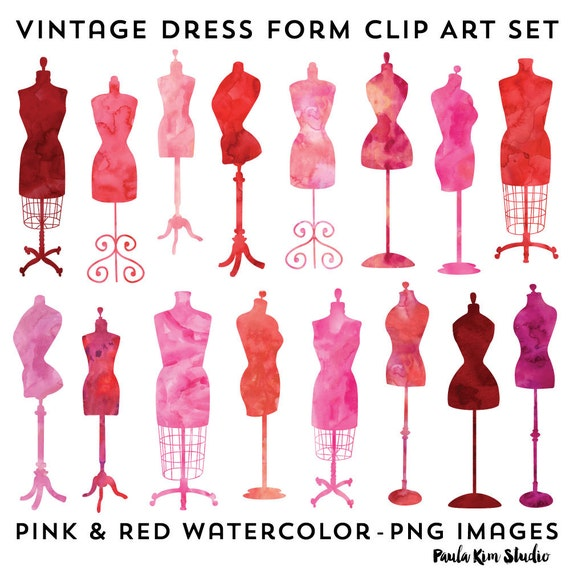 Vintage Dress Form Clip Art Fashion Party Theme Invitation