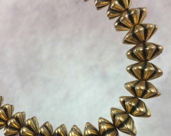 Fluted rondelle antiqued gold plated acrylic beads