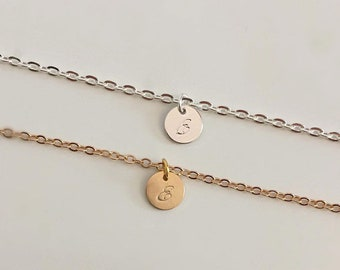 Silver plated or 18k gold plated choker with initial charm.