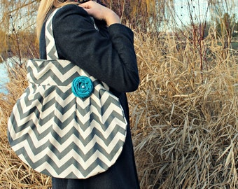 Handbags, Grey Chevron Large Tote Grey with Teal Flower, Grey Chevron Purse, Hobo Style Yoga Bag, Grey Chevron Large Hobo Bag, Cute Handbags
