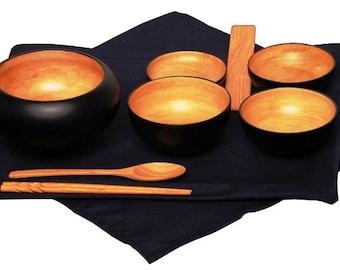 Mango Wood Monk's Oryoki Bowl Set