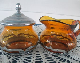 Vintage Amber Farber Bros Covered Glass Sugar And Creamer Set Mid Century Rustic Serving Glassware Dining Chrome Housewares
