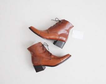 whiskey leather ankle boots | brown boots 7.5 | cap toe boots