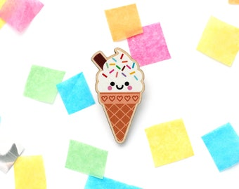 Ice Cream Brooch, Wooden Pin, Cute Accessory, hannahdoodle, Rainbow Sprinkles, Sweet Tooth Gift