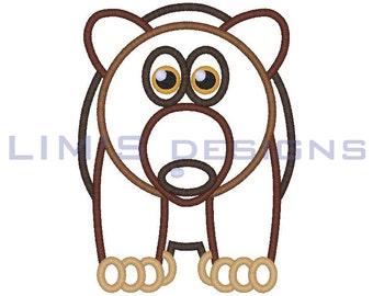 "Cute Bear applique machine embroidery design- 3 sizes 4x4"", 5x7"", 6x10"""