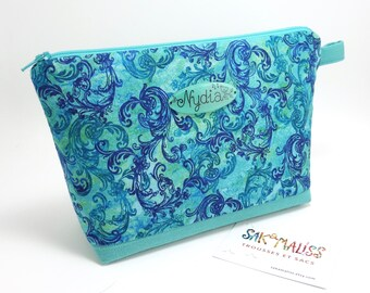 Turquoise blue makeup bag / Plate with name in option