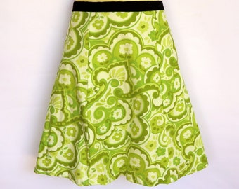 Green Ladies A Line Skirt - sizes 8 - 18 avail - floral, paisley, 70's