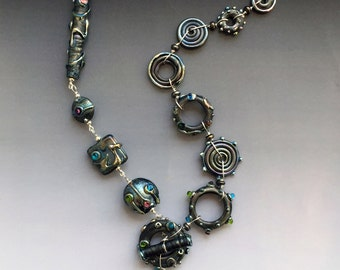 Metallica Necklace in Metallic Black Glass: handmade glass lampwork beads with sterling silver components