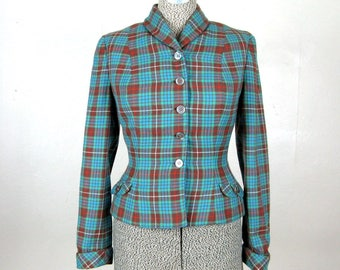 Vintage 1950s Plaid Blazer 50s Cute Teal Blue and Brown Plaid Fitted Jacket by Aljean Size S