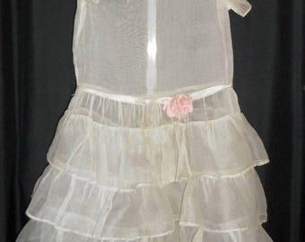 WONDERFUL FIND - Sheer 1920's Antique Tiered Ruffle Dress w/ Silk Flowers
