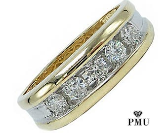 Channel Diamond 14k Yellow Gold Men's Wedding Band Fine Jewelry