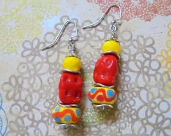 Festive Yellow, Red and Brass Boho Earrings (3493)