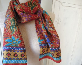 vintage 1970s scarf abstract floral global ethnic pattern 12 x 53 inches