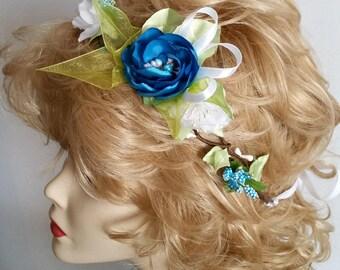Bridal hair wreath  Hair wreath Bridesmaids crown Wedding floral crown Blue Wedding accessories Hair flower crown Blue Floral hairpiece