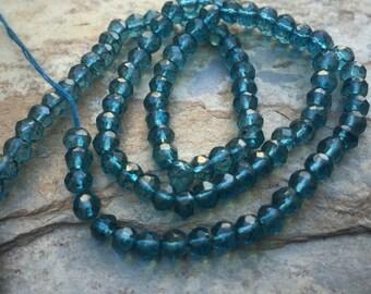 Blue Quartz Faceted Beads,  Round Blue Quartz Beads, 4mm, 13 inch strand